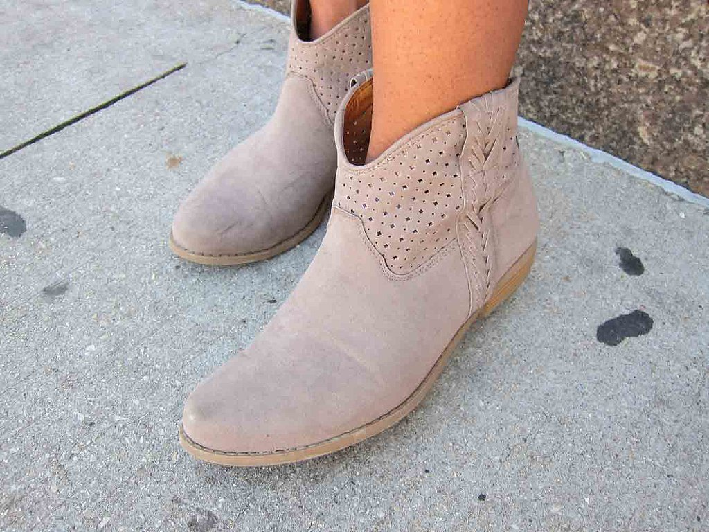 These taupe Target booties, with woven and perforated details, were a nice departure from the hundreds of sneakers stomping around the Lollapalooza fairground.