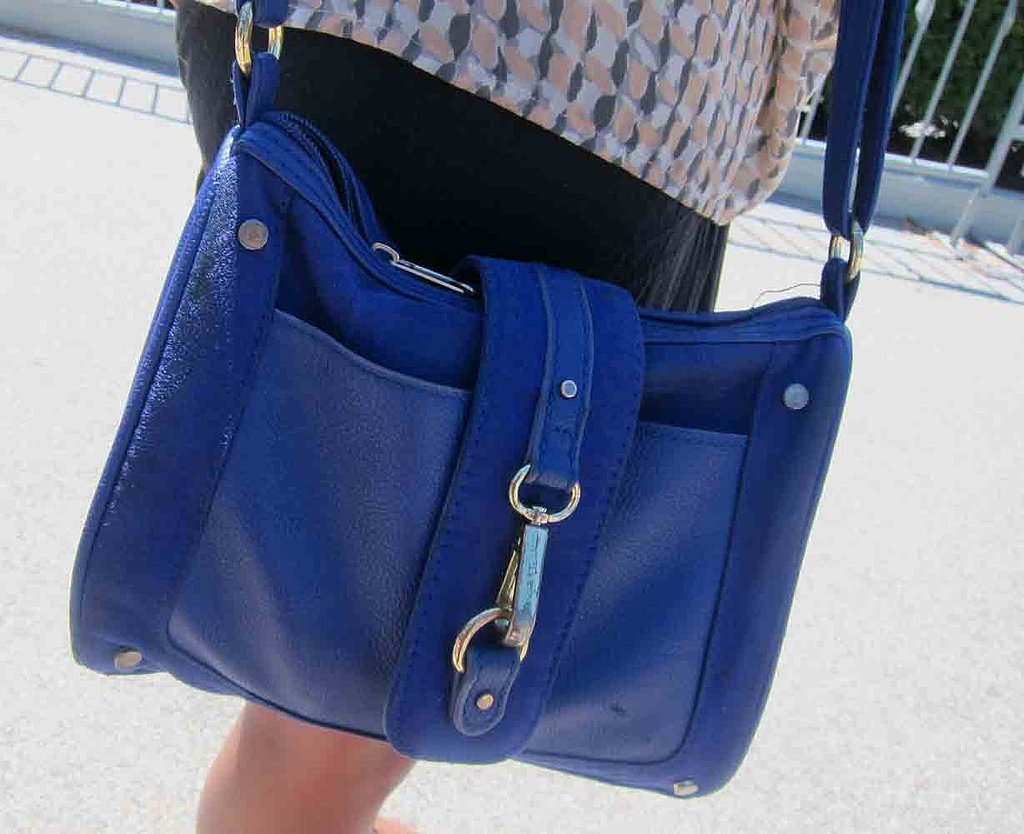 This blue H&M bag served as an ideal weekend-long carryall — the cobalt hue goes with everything.