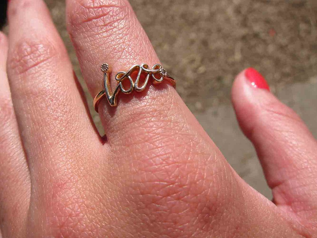 What's not to love? This delicate Urban Outfitters ring was on message.