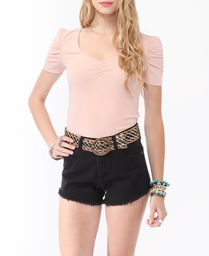FOREVER 21 Ruched Lace Back Top