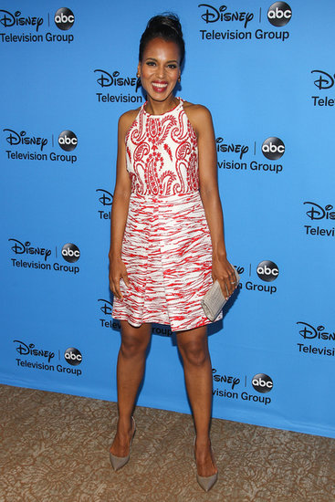 Kerry Washington was all smiles when she posed — and flashed her wedding ring! — in a printed halter dress at Disney and ABC's TCA tour.