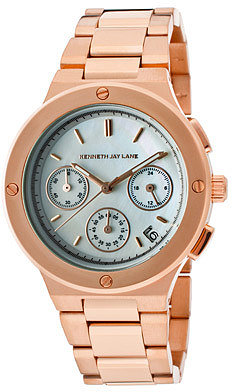 Kenneth Jay Lane Women's Chronograph White MOP Dial Rose Goldtone IP Stainless Steel