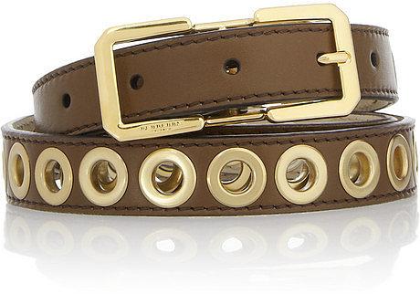 Burberry Prorsum Eyelet-embellished leather belt