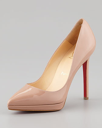 Christian Louboutin Pigalle Plato Patent Platform Red Sole Pump, Nude
