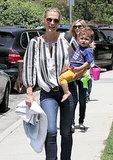 Molly Sims went with her son, Brooks, to the park in LA on Saturday.