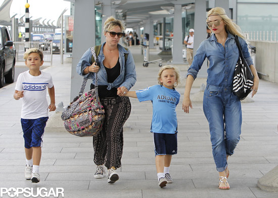 Gwen Stefani headed to the airport on Saturday in London with her sons, Kingston and Zuma.