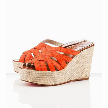 satin orange louboutin crepon 100mm wedges