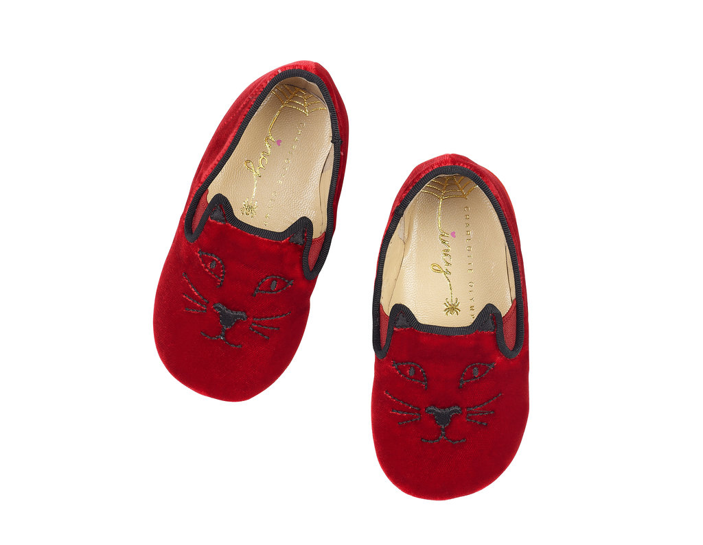 Charlotte Olympia Kitten slip-on shoes ($125) in red.
