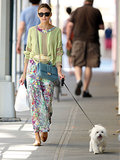 Olivia Palermo can always be seen walking her Maltese terrier, Mr. Butler, around NYC in style.