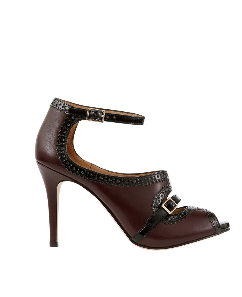 Macey Strappy Leather Peeptoe Heels ($148)