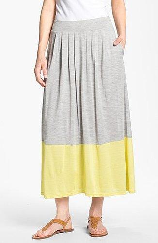 Eileen Fisher Pleated Colorblock Midi Skirt Dark Pearl/ Citrine Small