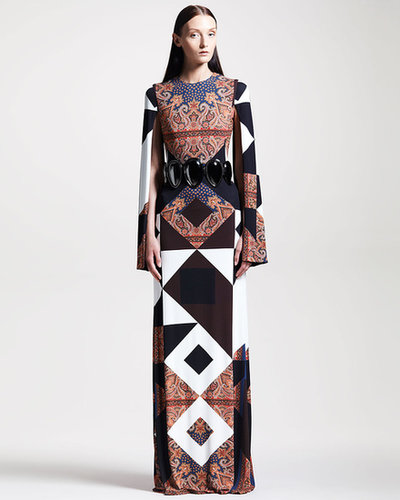 Givenchy Mixed-Print Crepe Gown