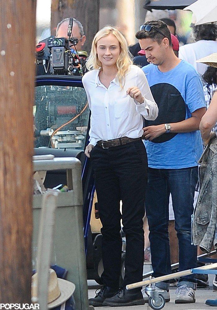 Diane Kruger smiled on the set of The Bridge in LA on Monday.