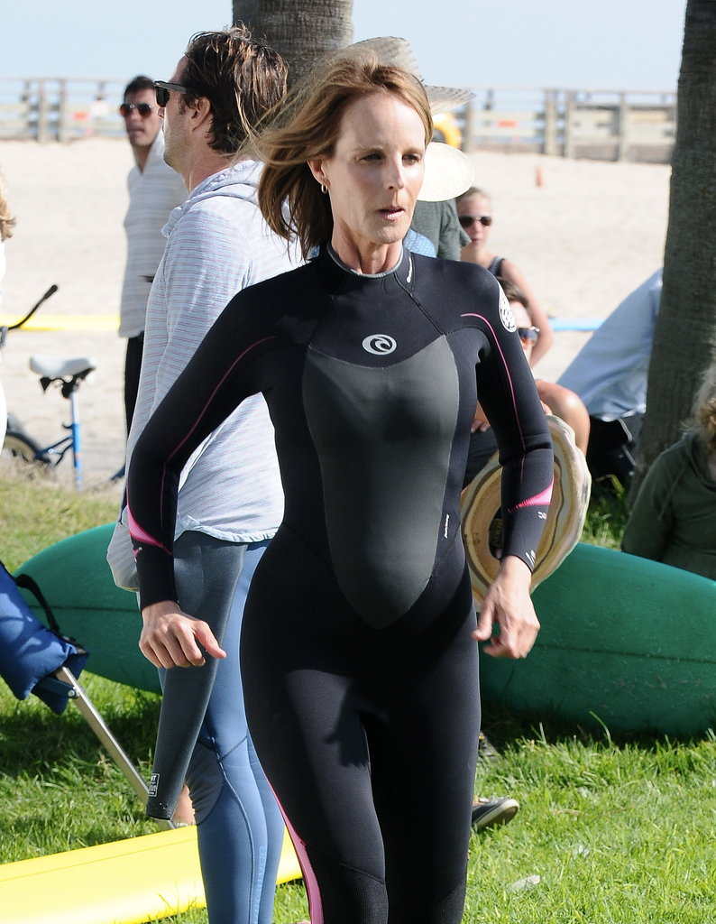 Helen Hunt sported a wetsuit in Venice Beach, CA, for her new film Ride on Tuesday.
