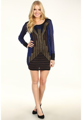 French Connection - Deco Twinkle Knit Cocktail Dress (Blue/Bronze/Gold) - Apparel