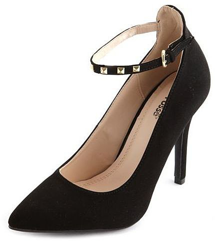 Studded Ankle-Strap Single Sole Pump