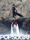 Leonardo DiCaprio rode on a Flyboard on Tuesday in Ibiza, Spain.
