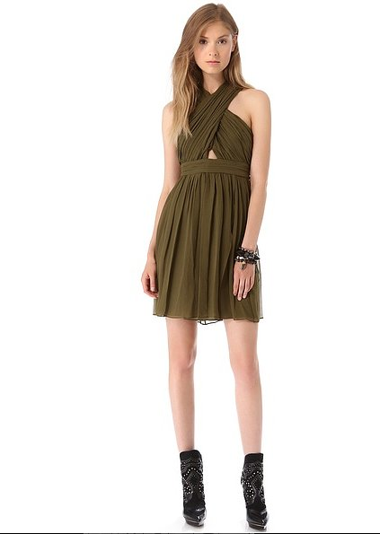 With its olive hue, you'll be able to wear this flirty Alice + Olivia Caldwell Wrap Dress ($264, originally $440) well into Fall.