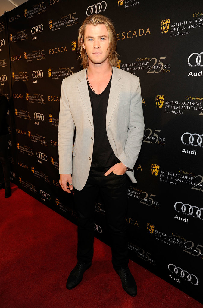 Chris let his hair down at the BAFTA LA awards season tea party in LA in Jan. 2012.