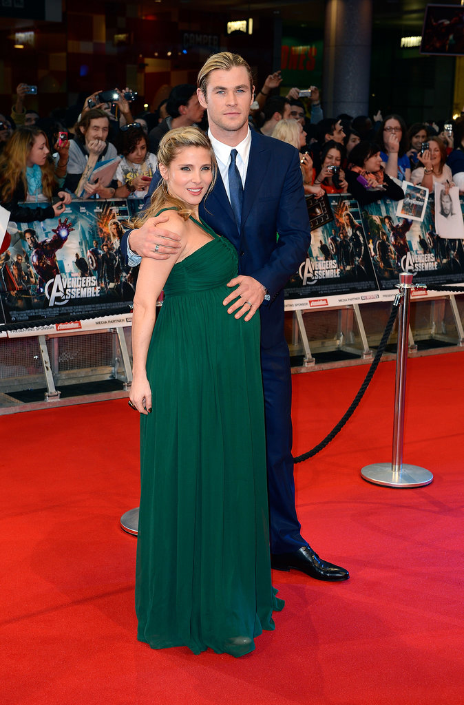 Pregnant Elsa and Chris attended the London premiere of The Avengers in April 2012.