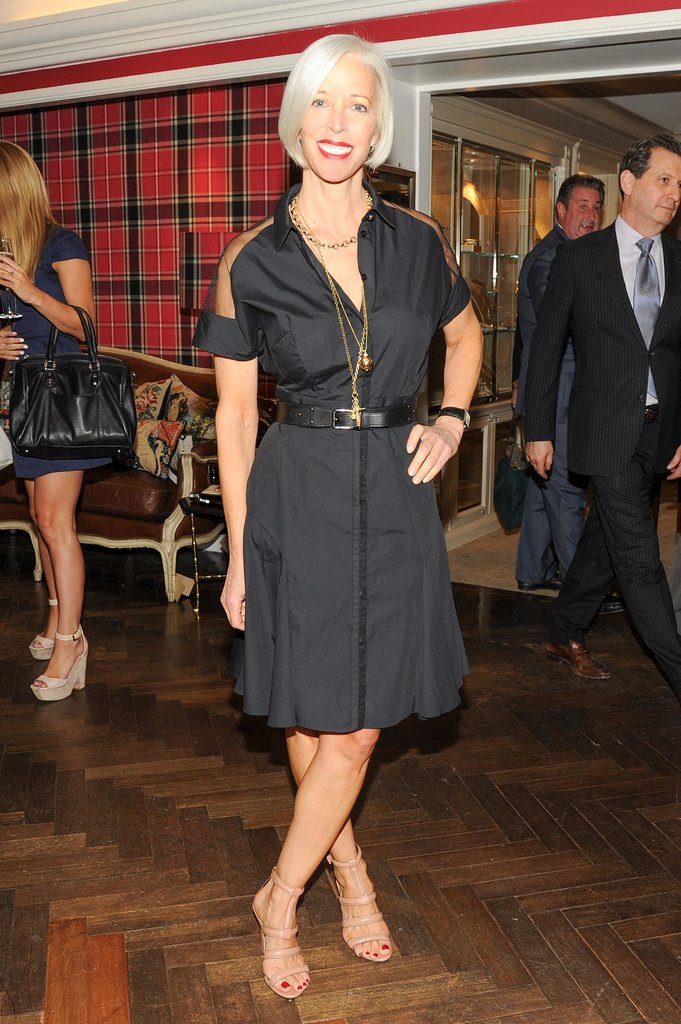 Linda Fargo attended the Monica Rich Kosann boutique opening at Bergdorf Goodman in a belted LBD.