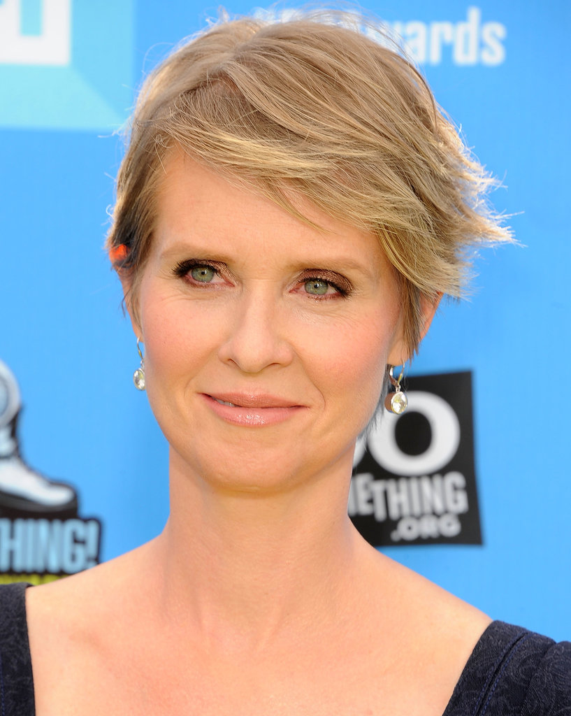 Cynthia Nixon's wispy blond pixie shows off her pretty blue eyes gorgeously.