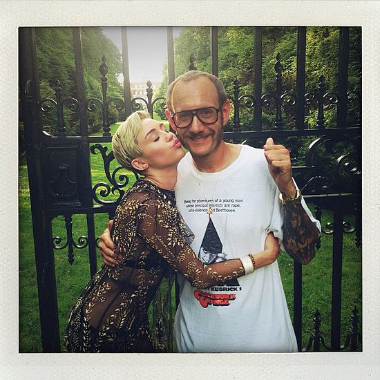 Miley Cyrus posed with photographer Terry Richardson on the set of a photo shoot for Harper's Bazaar. Source: Instagram user laurabrown99