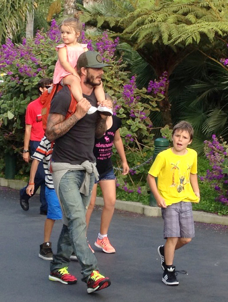 David Beckham gave Harper a ride on his shoulders during a trip to Legoland in LA.