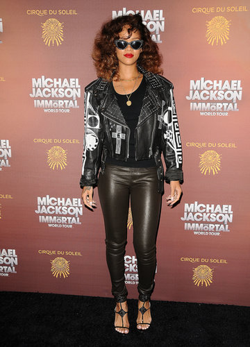 Good girl gone biker. The only thing missing from Rihanna's 2012 LA leather-on-leather look, embroidered jacket and slick pants, was a badass Harley.