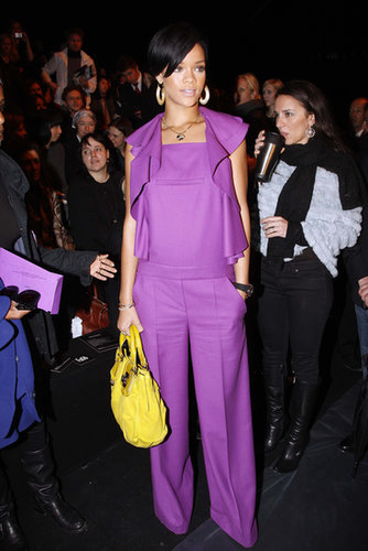 Rihanna brought major color to the Paris Fashion Week front row, posing in a bold purple Sonia Rykiel outfit and vibrant yellow satchel during the Fall/Winter 2008/2009 season.