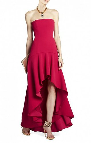 BCBG EVANGELINA FITTED STRAPLESS HIGH-LOW DRESS LIPSTICK RED