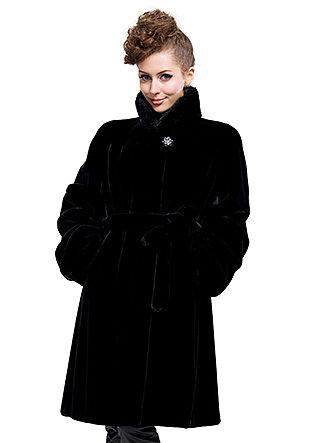 cheap quality black faux mink fur collar long coat free shipping