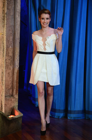 Emma Roberts looked equal parts sweet and sexy in a flirty fit-and-flare dress on Jimmy Fallon.