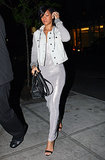 Rihanna chose a metallic slip dress and sweatshirt-sleeved denim jacket for an April 2012 dinner at Da Silvano in NYC.