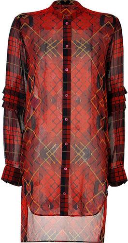 McQ Alexander McQueen Silk Plaid Shirtdress in Oxblood