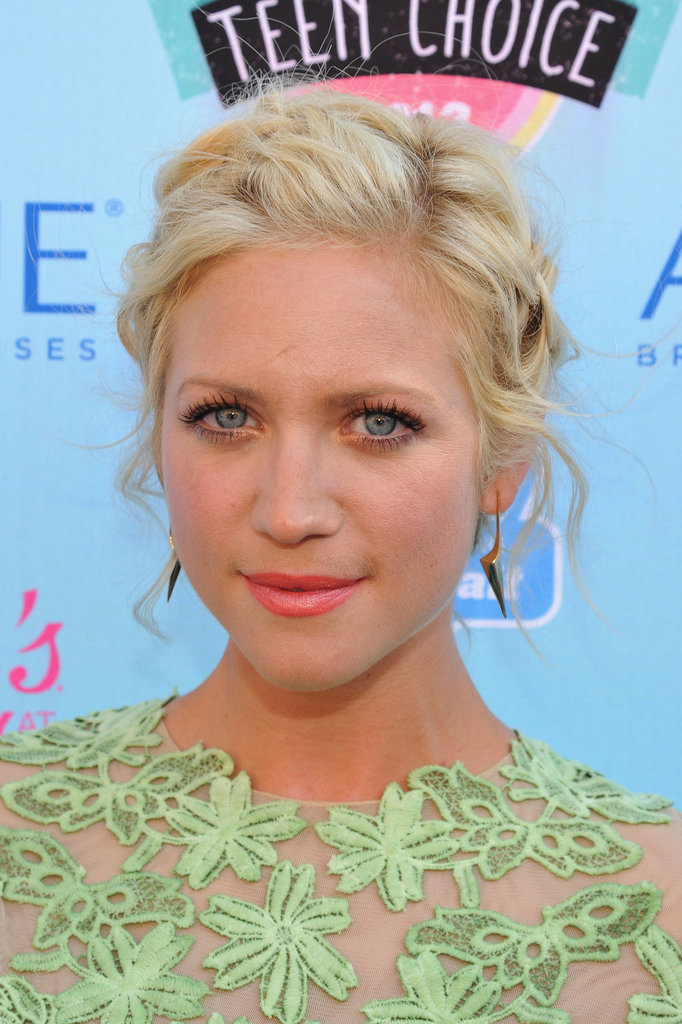 Brittany Snow's elegant updo showed off her tangerine lipstick effortlessly.