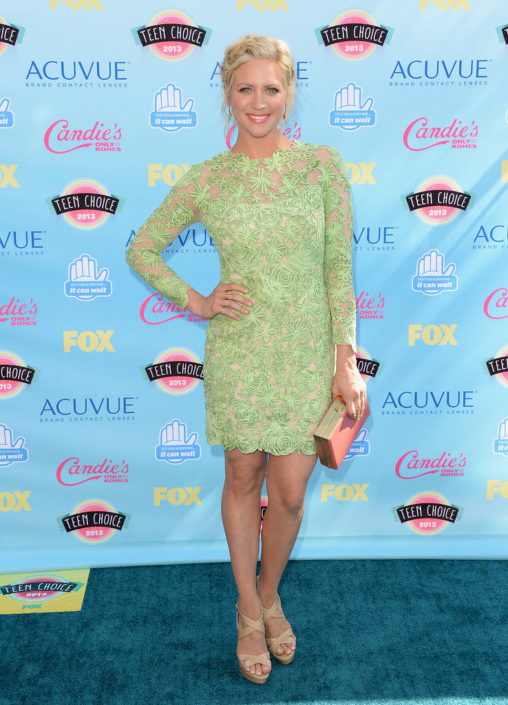Brittany Snow's neon lace Oliver Tolentino Couture cocktail dress and Oroton box clutch couldn't be missed!