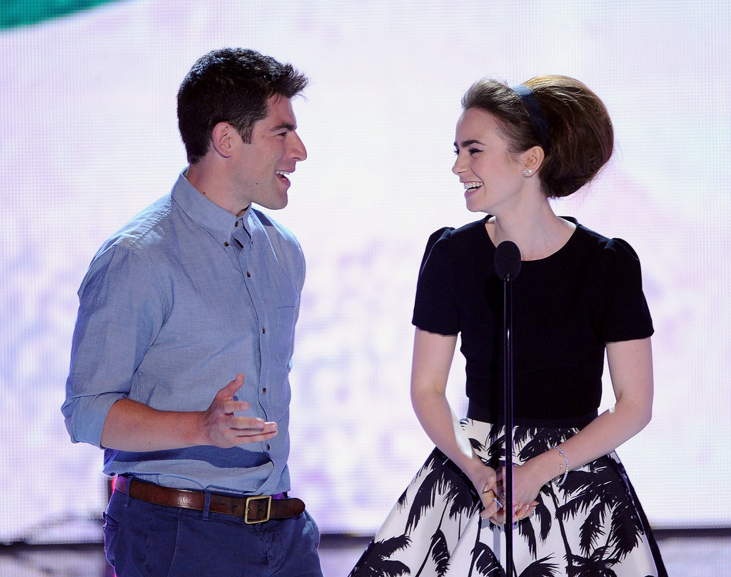Max Greenfield joked around with Lily Collins at the Teen Choice Awards.
