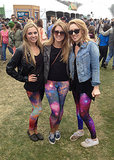 Galaxy-print leggings were a must for this trendy trio.