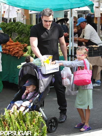 Ben Affleck hit the farmers market with his little ones, Violet and Samuel.