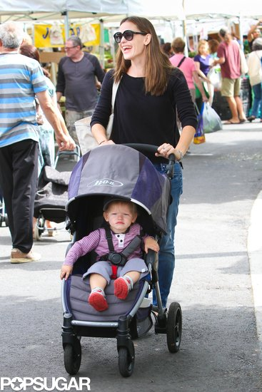 Jennifer Garner was all smiles as she pushed Samuel's stroller through the LA farmers market.