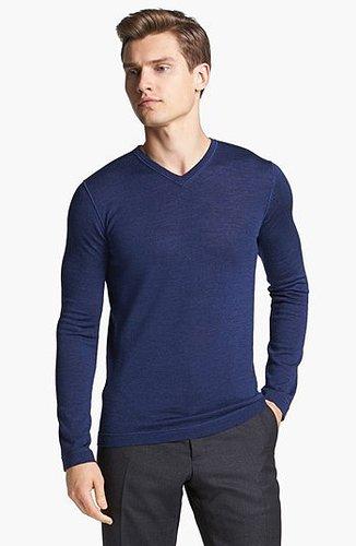 Jil Sander Wool & Silk V-Neck Sweater Medium Blue 46R EU