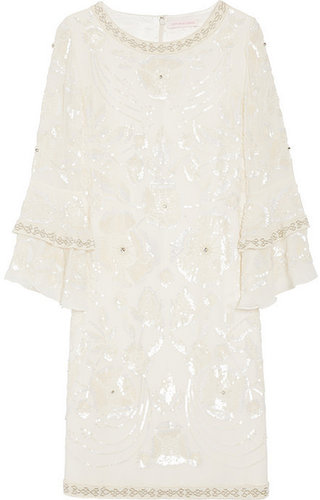 Matthew Williamson Poppy embellished silk-georgette shift dress