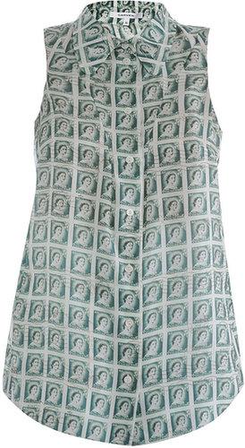Carven Stamp-print silk blouse