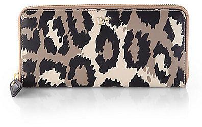 Diane von Furstenberg Leopard Print Zip-Around Wallet