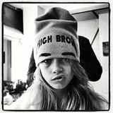 Even covered in a cap, Cara's brows make a statement. Source: Instagram user caradelevingne