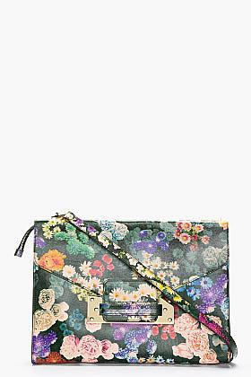 SOPHIE HULME Green Multicolor Leather Floral Envelope Clutch