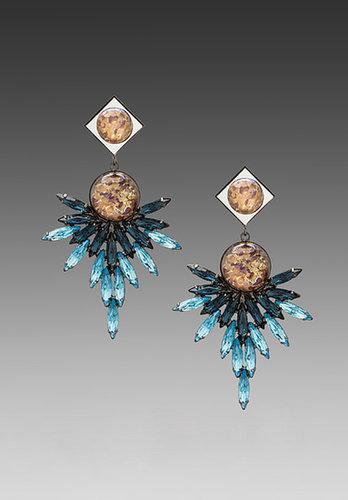 DANNIJO Odessa Earrings in Champagne/Blue
