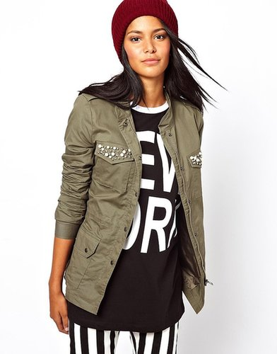Only Military Jacket With Embellished Pocket