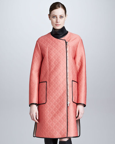 3.1 Phillip Lim Quilted Overcoat with Leather Bib, Grapefruit